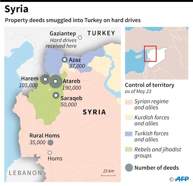 Map of northern Syria with numbers of property deeds smuggled into Turkey on hard drives. To go with AFP story. (AFP Photo/Omar KAMAL)