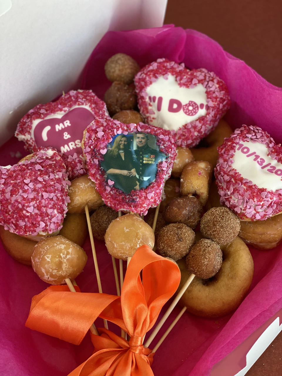 What wedding at Dunkin' wouldn't be complete with doughnuts? (Courtesy Jillian Gallagher and Emma Burke)