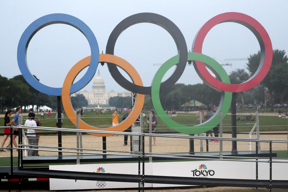 WASHINGTON, D.C. - JULY 19: Olympic Ring Tour Makes Its Debut In Washington DC at the National Mall on July 19, 2021. Credit: mpi34/MediaPunch /IPX