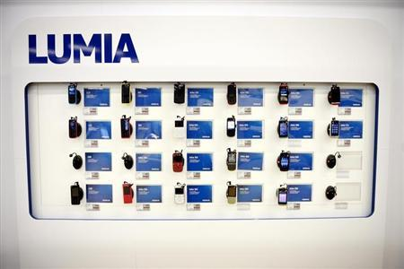 Nokia's Asha mobile phones are seen in a Helsinki mobile phone store