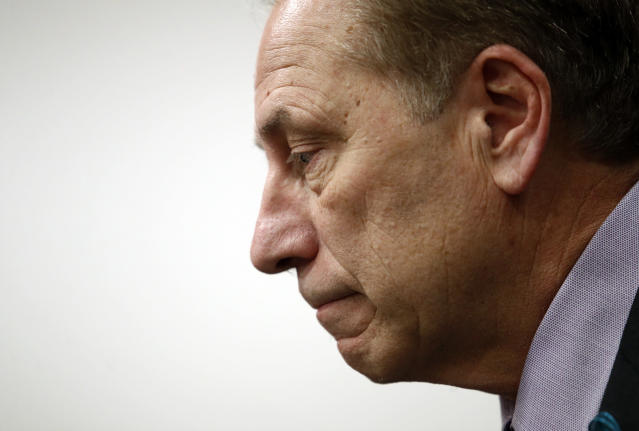 Michigan State head coach Tom Izzo speaks at a news conference. (AP Photo/Patrick Semansky)