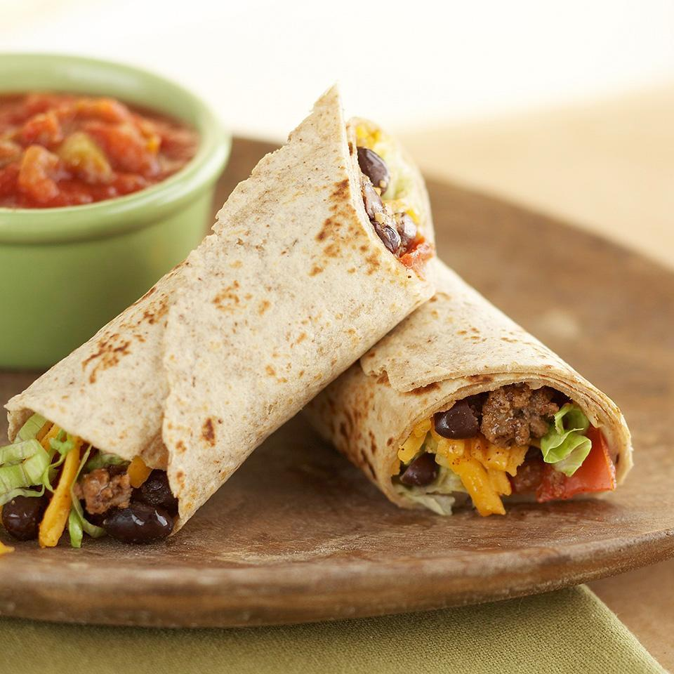 <p>Whole-wheat tortillas and black beans make this sandwich recipe a filling, high-fiber meal with a snappy, south-of-the-border appeal.</p>