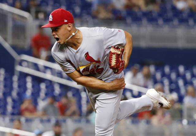 St. Louis Cardinals' Jordan Hicks delivers a pitch during the ninth inning of a baseball game against the Miami Marlins, Monday, June 10, 2019, in Miami. (AP Photo/Wilfredo Lee)