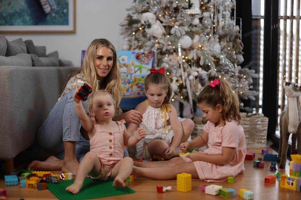Candice Warner with her three daughters, Isla, 18 months, Ivy, six, and Indi, four. Photo: supplied.