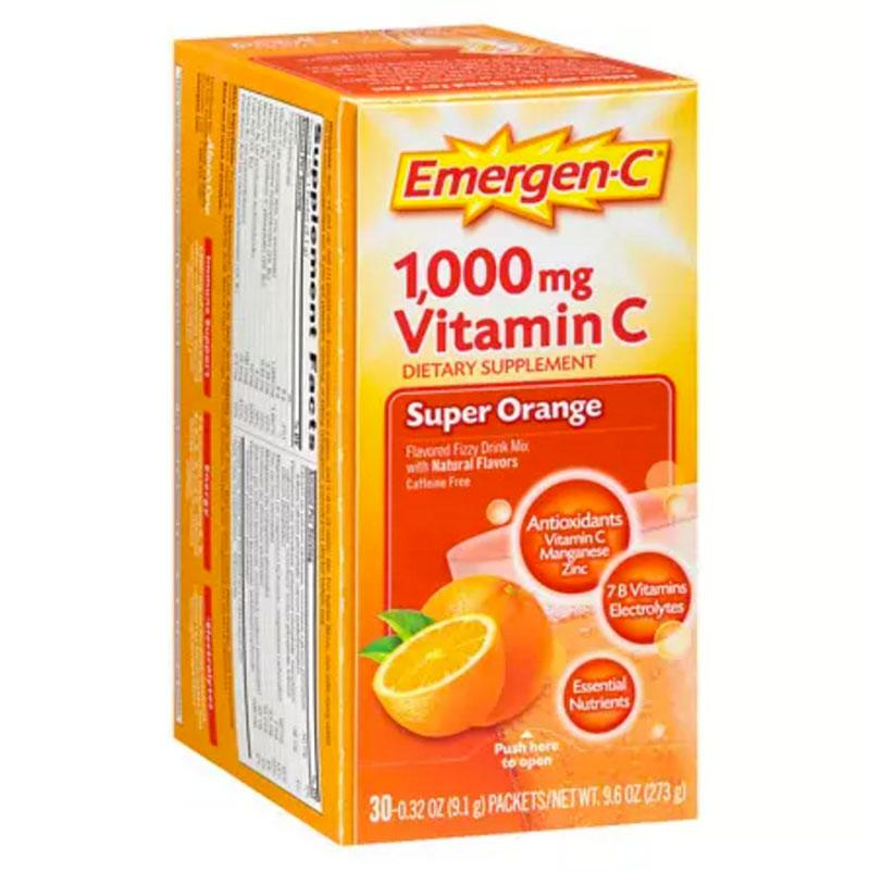 """<p>If you're worried about catching a cold on the plane and ruining your vacation with the sniffles and a sore throat, stock up on Emergen-C packets or Airborne tablets before your flight. The heavy dose of vitamins and minerals may help bolster your defenses, and save your vacation.</p>  <p>Our pick: Emergen-C Fizzy Drink Mix</p>  <p><strong>To buy:</strong> <a rel=""""nofollow"""" href=""""http://www.anrdoezrs.net/links/7799179/type/dlg/sid/SYNinstyleRCdrugstoretravelessentials/https://www.walgreens.com/store/c/emergen-c-1000-mg-vitamin-c-dietary-supplement-fizzy-drink-mix-orange/ID=prod6000608-product"""">walgreens.com</a>, $13</p>"""