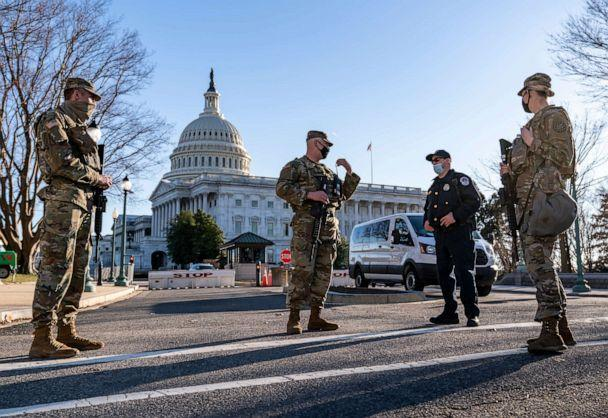 Heightened security remains around the U.S. Capitol March 3, 2021.  (J. Scott Applewhite/AP)