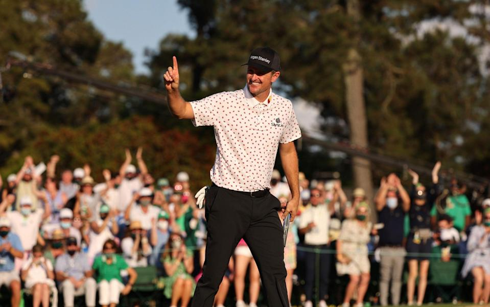 Justin Rose of England reeacts after sinking his final putt on the eighteenth hole during the final round of the 2021 Masters Tournament at the Augusta National Golf Club in Augusta, Georgia, USA, 11 April 2021. - JUSTIN ROSE/EPA-EFE/Shutterstock