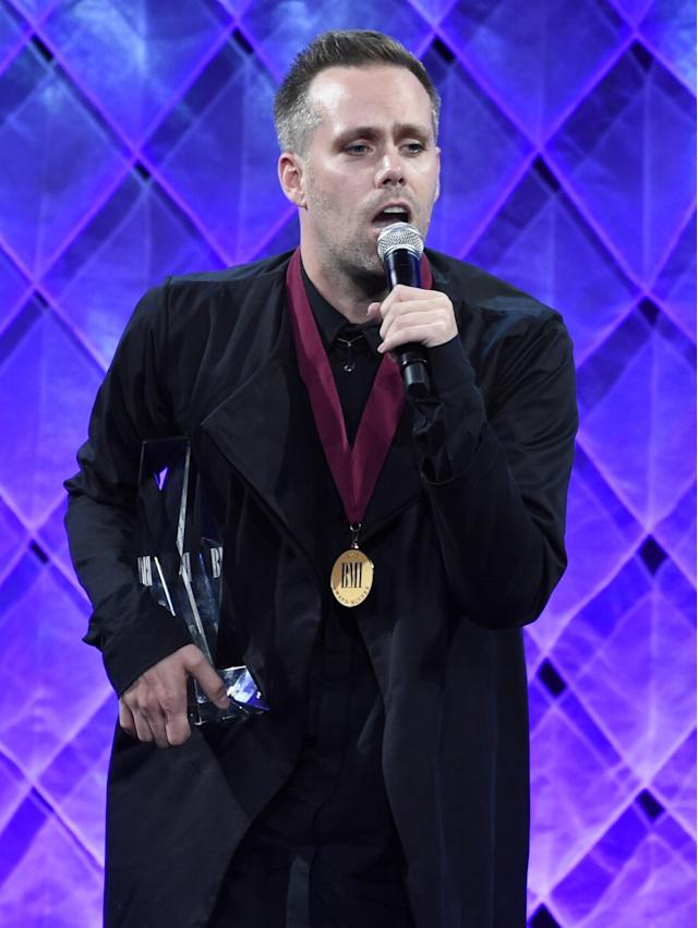 Justin Tranter speaks at the 65th annual BMI Pop Awards at the Beverly Wilshire Hotel on Tuesday, May 9, 2017, in Beverly Hills, Calif. (Photo by Chris Pizzello/Invision/AP)