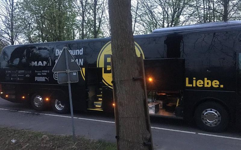 The Borussia Dortmund team bus after the incident