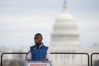 """FILE PHOTO: Civil rights activist DeRay Mckesson speaks at the """"End Racism Rally"""" on the National Mall on the 50th anniversary of the assassination of civil rights leader Rev. Martin Luther King Jr. in Washington"""