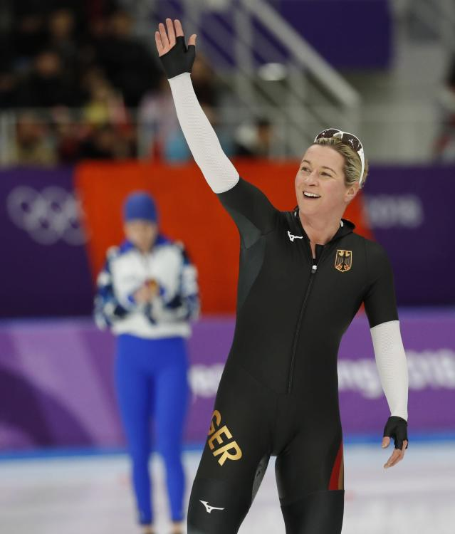 Speed Skating – Pyeongchang 2018 Winter Olympics – Women's 3000m competition finals – Gangneung Oval - Gangneung, South Korea – February 10, 2018 - Claudia Pechstein of Germany celebrates. REUTERS/Jorge Silva