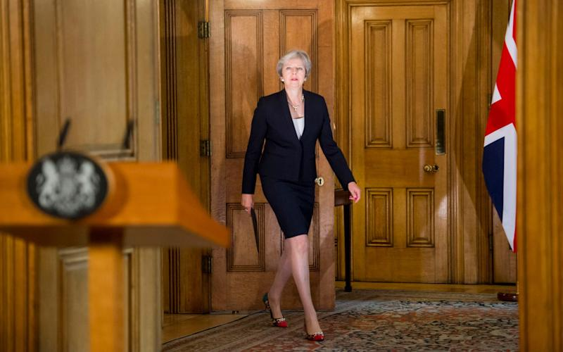 Theresa May makes a statement in Downing Street - Paul Grover for the Telegraph