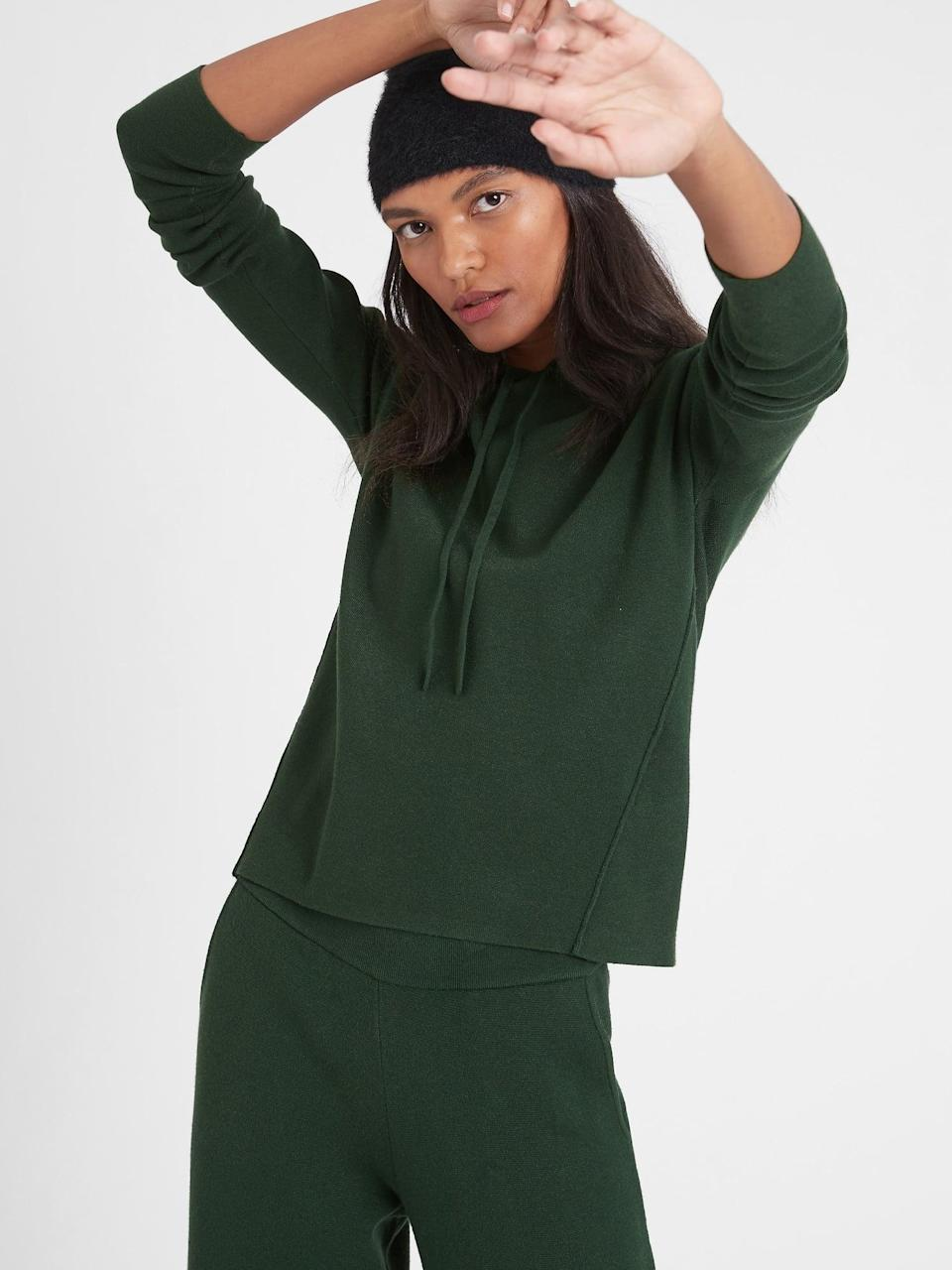 <p>This <span>Petite Sweater Hoodie</span> ($110) is machine washable, and it's cut for a relaxed fit that still looks intentional.</p>