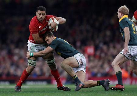 Rugby Union - Autumn Internationals - Wales vs South Africa - Principality Stadium, Cardiff, Britain - December 2, 2017 Wales' Taulupe Faletau in action with South Africa's Handre Pollard Action Images via Reuters/Andrew Boyers