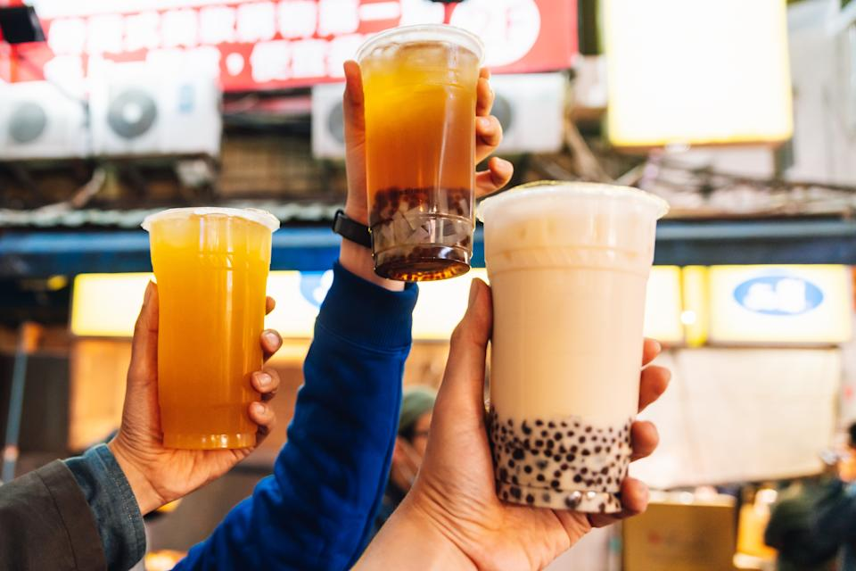 Tourists put Bubble Milk Teas up in the air