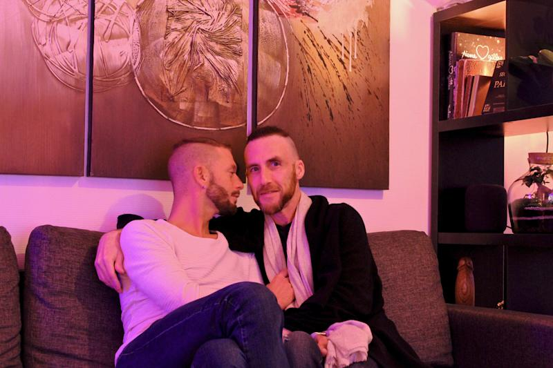 The author (right) with his boyfriend, Vincent, in their studio apartment in Paris (April 2020). (Courtesy of Adam Fitzgerald)