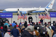 Vice President Mike Pence speaks during an airport rally, Thursday, Oct. 29, 2020, in Des Moines, Iowa. (AP Photo/Charlie Neibergall)