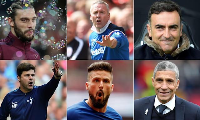 Clockwise from top left: Andy Carroll, Paul Lambert, Carlos Carvalhal, Chris Hughton, Olivier Giroud and Mauricio Pochettino.