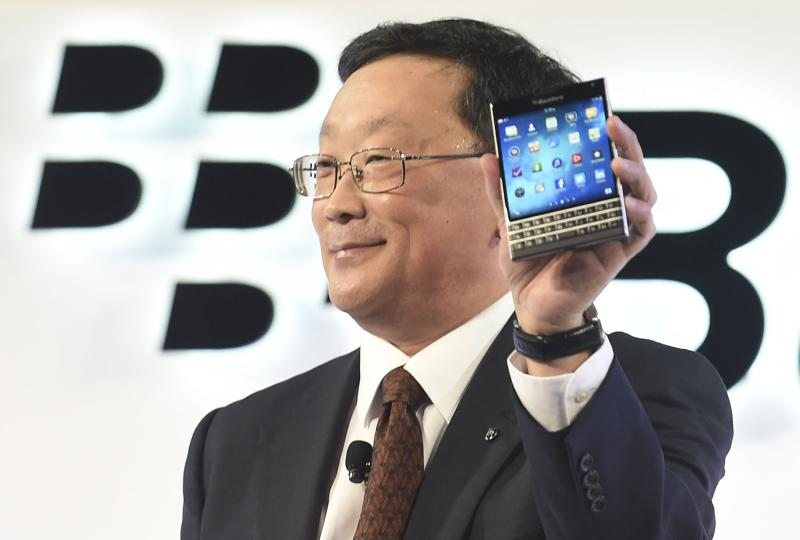 BlackBerry Chief Executive John Chen introduces the Passport smartphone during an official launch event in Toronto