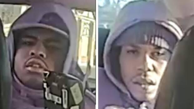 Calgary police are asking for help from the public to identify these two men who are persons of interest in the 2019 shooting death of Matthew Maniago. (Calgary Police Service - image credit)