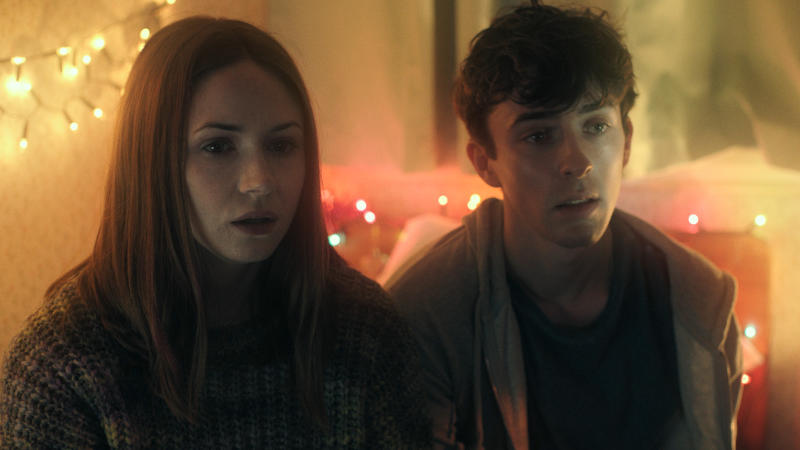 Karen Gillan and Matthew Beard in 'The Party's Just Beginning'. (Credit: Blue Finch Films)