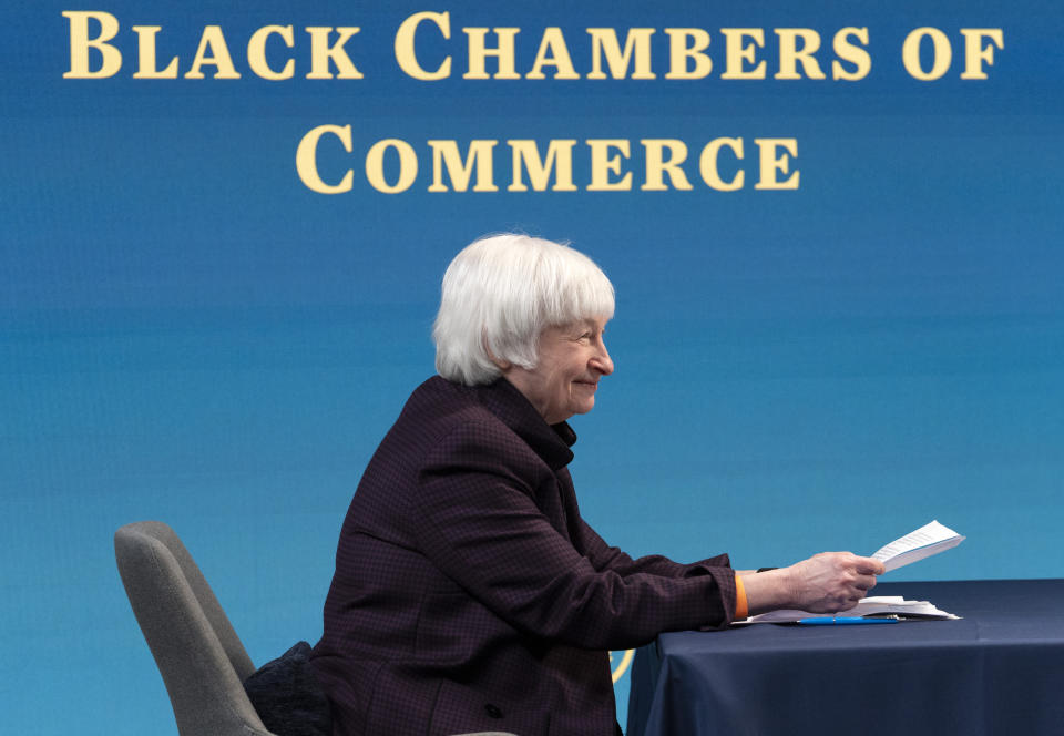 Treasury Secretary Janet Yellen attends a virtual roundtable with participants from Black Chambers of Commerce across the country to discuss the American Rescue Plan, Friday, Feb. 5, 2021, from the South Court Auditorium on the White House complex in Washington. (AP Photo/Jacquelyn Martin)