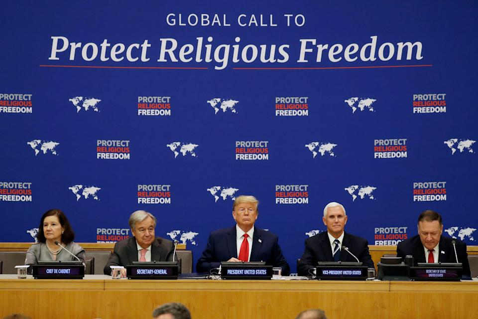 President Donald Trump pushed for the protection of religious freedoms during a United Nations General Assembly meeting Sept. 23 in New York.