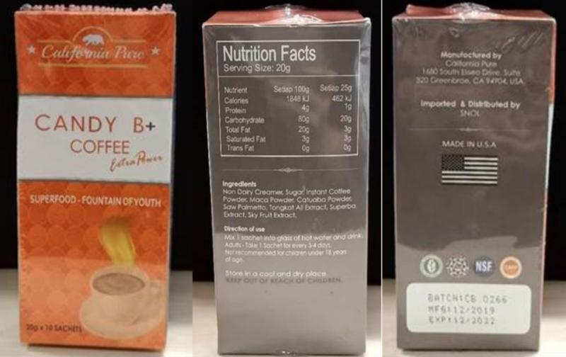 Candy B+ Coffee Extra Power, one of two products flagged by HSA as health risks. (PHOTO: Health Sciences Authority)