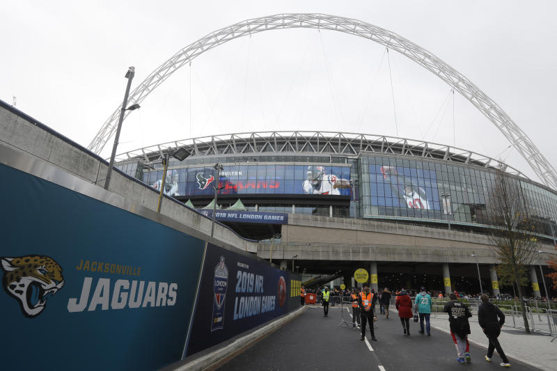 London's Wembley Stadium has hosted a plethora of NFL games over the past several years. There will not be any international NFL games in 2020 due to the coronavirus pandemic. (AP Photo/Kirsty Wigglesworth)