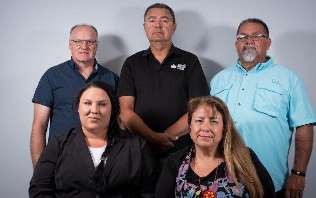 Coun. Robyn Perkins, front left, Duckworth, front right, Coun. James Peters, back left, Coun. Stan Scott, back centre and Coun. Steve Simpson, back right.