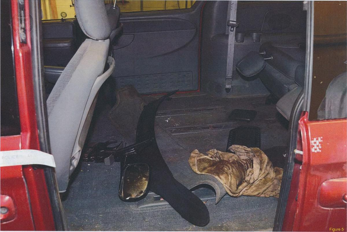 <p>The interior of McArthur's 2004 Dodge Caravan after police located it at a wrecking yard in Courice, Ont. Police detected blood and other bodily fluids inside the van that matched the DNA profiles of several of McArthur's victims. (Photo provided by the Crown) </p>