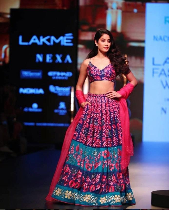 <p>Lakme Fashion week saw the debut of new bee Jahnvi Kapoor on the ramp and dare we say, she killed it. Walking as the show stopper for Nachiket Barve, the 21-year-old was resplendent in a dressy bralette paired with a heavily embroidered lehenga. The look was rounded up with a sheer pink dupatta wrapped stylishly around the arms. </p>