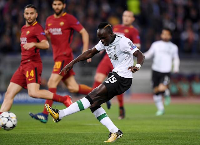 Soccer Football - Champions League Semi Final Second Leg - AS Roma v Liverpool - Stadio Olimpico, Rome, Italy - May 2, 2018 Liverpool's Sadio Mane scores their first goal REUTERS/Alberto Lingria