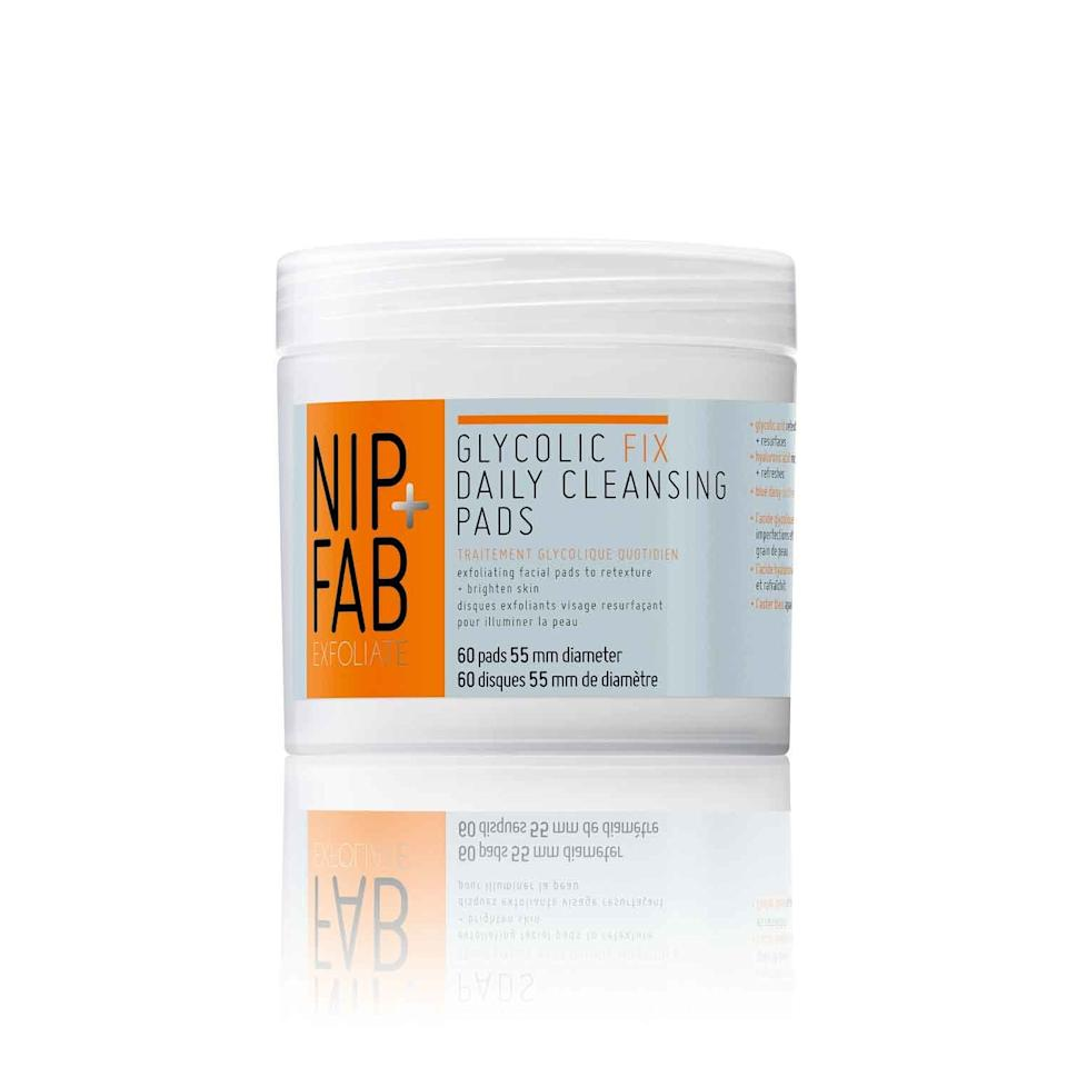 "<p>After cleansing, reach for one of these palm-size pads to dig deep into nooks and crannies you may have missed with your wash. While glycolic acid — which works to target uneven texture and tone — is the hero ingredient here, but hyaluronic acid swoops in to hydrate and soothe, so the overall effect isn't too punishing.</p><p>$12.99 (<a rel=""nofollow"" href=""http://www.ulta.com/glycolic-fix-exfoliating-facial-pads?mbid=synd_yahoobeauty&productId=xlsImpprod5540021"">ulta.com</a>)</p>"