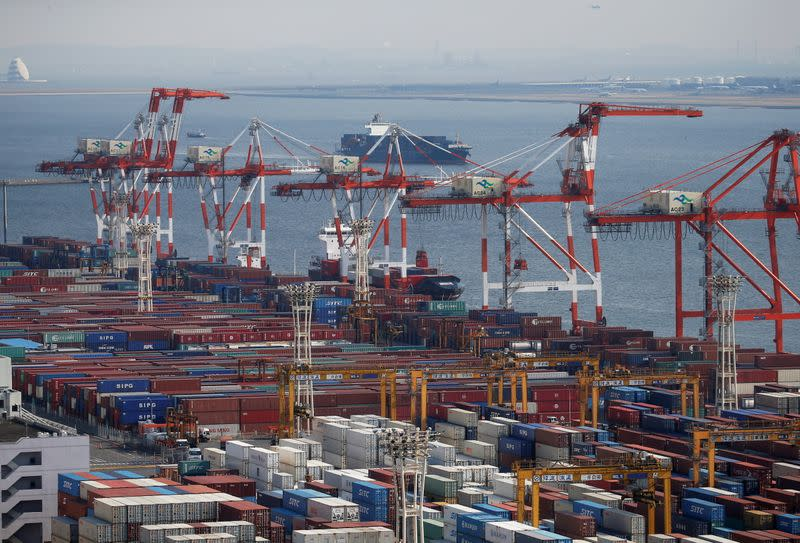 FILE PHOTO: Shipping containers are seen at a port in Tokyo, Japan