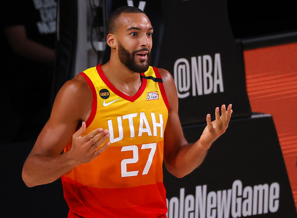 Utah Jazz star Rudy Gobert's positive coronavirus test made real the threat of coronavirus in the NBA and beyond. (Kevin C. Cox/Getty Images)