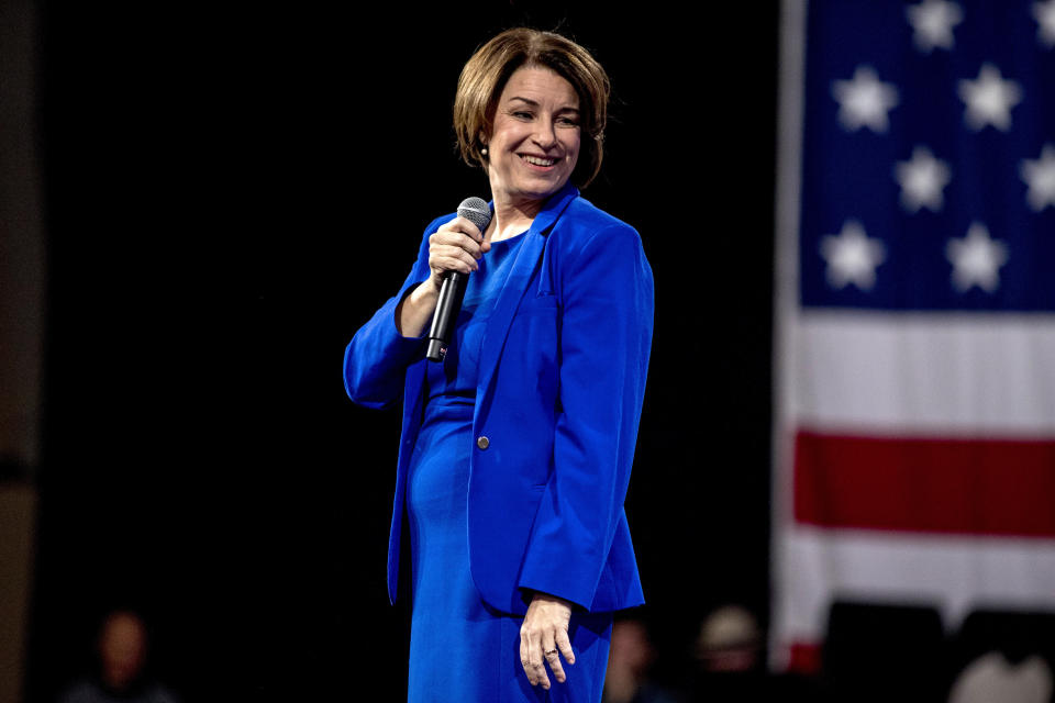 """Democratic presidential candidate Sen. Amy Klobuchar, D-Minn., pauses while speaking at """"Our Rights, Our Courts"""" forum New Hampshire Technical Institute's Concord Community College, Saturday, Feb. 8, 2020, in Concord, N.H. (AP Photo/Andrew Harnik)"""