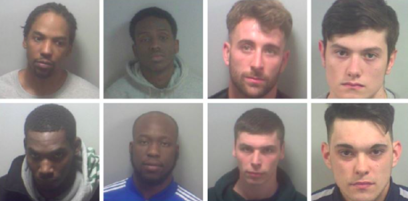 Eight of the robbers, pictured from left to right. Top row: Aaron Mayers, Ahmed Ali, Brady Dewson and Conner Miller. Bottom row: Darren Myers, Faisal Issah, Glenn Kenny and Jake Jenks (Picture: Kent Police)