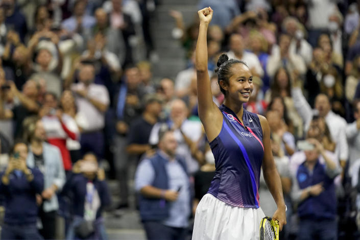 Leylah Fernandez, of Canada, reacts after defeating Aryna Sabalenka,of Belarus, during the semifinals of the US Open tennis championships, Thursday, Sept. 9, 2021, in New York. (AP Photo/Seth Wenig)
