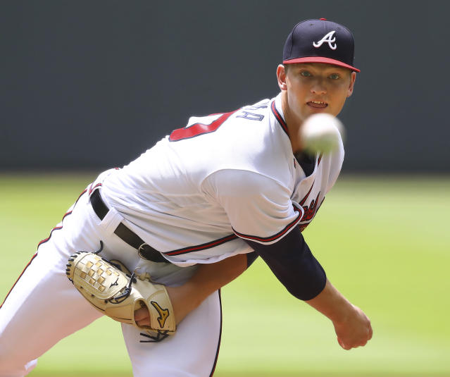 Atlanta Braves pitcher Mike Soroka throws against the New York Mets during the first inning of a baseball game Wednesday, June 13, 2018, in Atlanta. (Curtis Compton/Atlanta Journal-Constitution via AP)