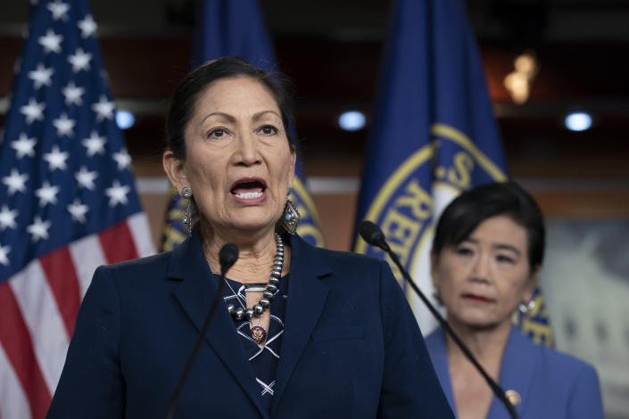 FILE - In this March 5, 2020, file photo Rep. Deb Haaland, D-N.M., Native American Caucus co-chair, joined at right by Rep. Judy Chu, D-Calif., chair of the Congressional Asian Pacific American Caucus, speaks to reporters about the 2020 Census on Capitol Hill in Washington. Native Americans have reason to believe the two-term U.S. congresswoman will push forward on long-simmering issues in Indian Country if she's confirmed as secretary of the Interior Department. A confirmation hearing is scheduled Tuesday, Feb. 23, 2021. (AP Photo/J. Scott Applewhite, File)