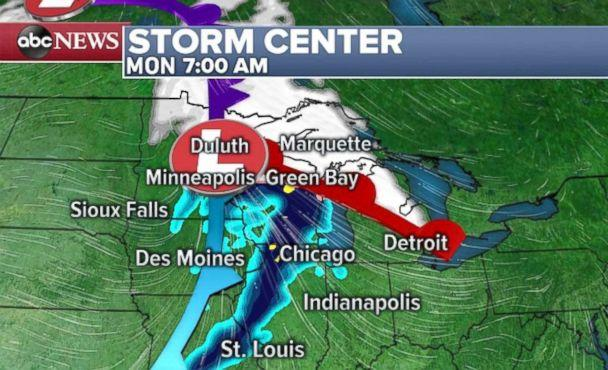 PHOTO: A quick-moving storm could dump some snow on the Midwest Monday and the Northeast on Tuesday. (ABC News)