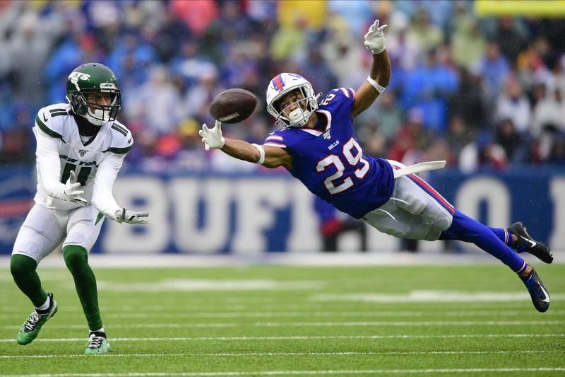 FILE - In this Sunday, Dec. 29, 2019 file photo, Buffalo Bills cornerback Kevin Johnson (29) defends a pass to New York Jets wide receiver Robby Anderson (11) during the first half of an NFL football game in Orchard Park, N.Y. The Browns found their nickel back, agreeing to terms on a one-year contract with free agent cornerback Kevin Johnson, Thursday, March 19, 2020.(AP Photo/David Dermer, File)
