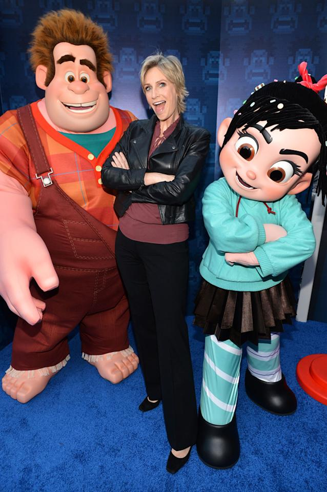 "HOLLYWOOD, CA - OCTOBER 29:  Actress Jane Lynch arrives at Walt Disney Animation Studios' ""Wreck-It Ralph"" premiere at the El Capitan Theatre on October 29, 2012 in Hollywood, California.  (Photo by Alberto E. Rodriguez/WireImage)"