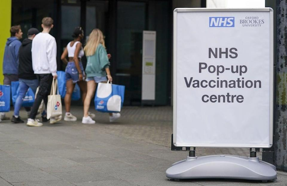 A pop-up vaccination clinic at the Oxford Brookes University's Headington Campus in Oxford (Steve Parsons/PA) (PA Wire)
