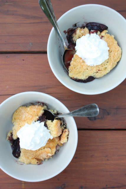 "<strong>Get the <a href=""http://www.completelydelicious.com/2011/07/baking-outside-the-kitchen-easy-dutch-oven-cobbler.html"" rel=""nofollow noopener"" target=""_blank"" data-ylk=""slk:easy Dutch oven cobbler recipe"" class=""link rapid-noclick-resp"">easy Dutch oven cobbler recipe</a> from Completely Delicious.</strong>"