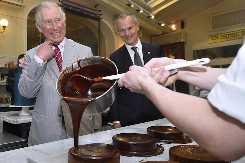 Masterclass: Prince Charles watches bakers at work in Vienna: REUTERS