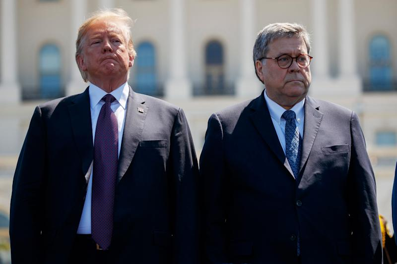 President Donald Trump and Attorney General William Barr on May 15, 2019.