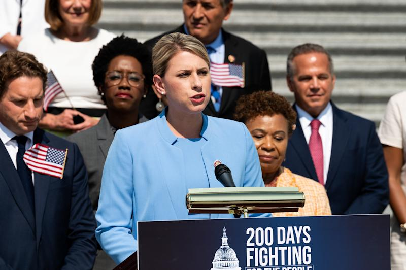 WASHINGTON, DC, UNITED STATES - 2019/07/25: U.S Representative Katie Hill (D-CA) speaking at a press event with House Democrats on the first 200 days of the 116th Congress, on the steps of the Capitol in Washington, DC. (Photo by Michael Brochstein/SOPA Images/LightRocket via Getty Images)