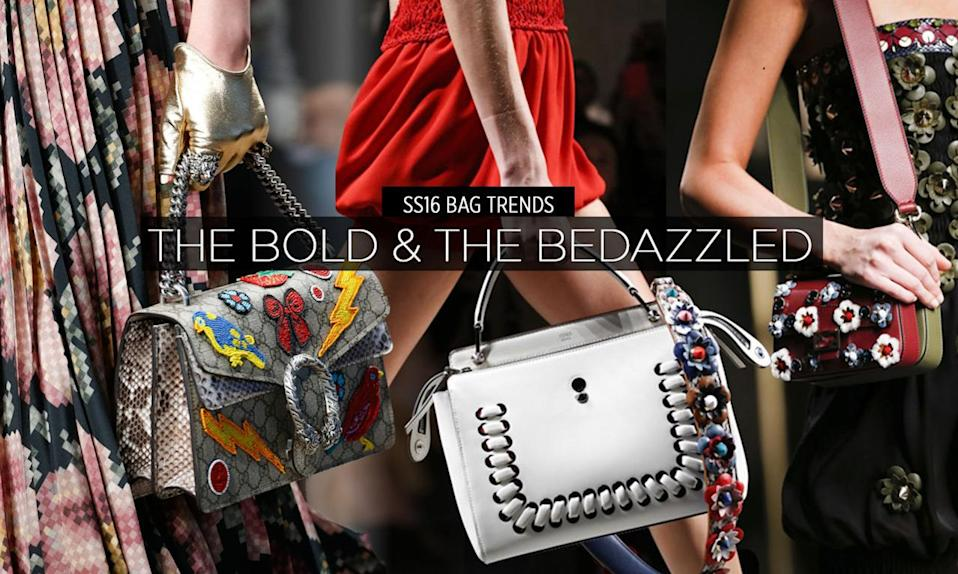 <p>Once the spring hits, it's time to rejuvenate your bag collection with something extraordinary. Embellishments are big this season so if you can't afford Fendi's floral appliqué wonder, don't worry! Just bedazzle, pin, and sew something that you already own! From buttons to sequins to pom-poms, more is more this season! <br></p>